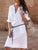 Solid Color V Neck Long Sleeve Button Belt Casual Loose Midi Dress