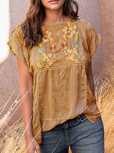 Round Neck  Floral Short Sleeve Embroidery Blouse