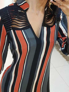 Striped-Tassels-Insert-Tie-Sleeve-Shirt-Dress-Findalls