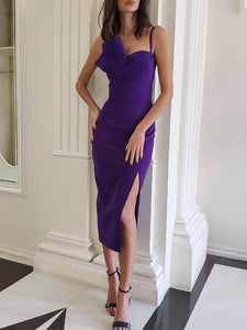 Ruched Design Slit Party Dress