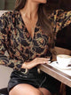 V Neck Long Sleeve Chain Print  Casual  Blouse