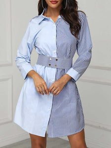 Colorblock Striped Insert Shirt Dress