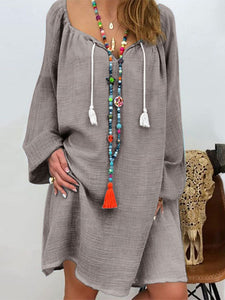 Bohemia Solid Color V Neck Long Sleeve Casual Loose Midi Dress