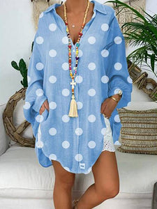 Plus Size Polka Dot Printed Long Sleeve Loose Blouses