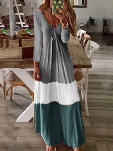 V Neck Long Sleeve Gradient Casual Dress