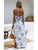 Elegant Halter Backless High Split Floral Print Hollow Out Casual Maxi Dress