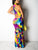 Bohemia Round Neck Colorful Tie Dye Hollow Out Back Casual Maxi Dress - Hellosasa