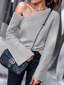 Women Off Shoulder Flare Sleeve Casual Sweater