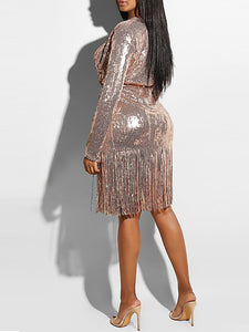 Off Shoulder Long Sleeve Sequin Tassel Party Dress