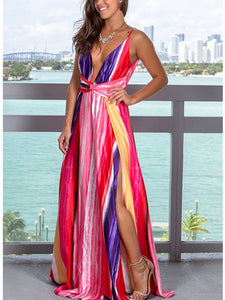 Sexy Spaghetti Straps Backless Side Split Tie Dye Casual Maxi Dress
