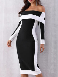 Plus Size Open Shoulder Patchwork Slit Color Block Colouring Bodycon Dress