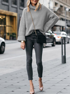 High Neck Solid Long Sleeve Casual Sweater