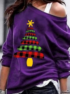 Off Shoulder Christmas Tree Printed Long Sleeve Casual T-Shirt