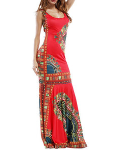 3D Print Backless Tie Back Side Slit Vintage Maxi Dress