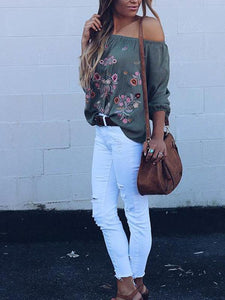 Off-the-shoulder-Long-Sleeves-Blouse-&-Shirt-Top-Findalls