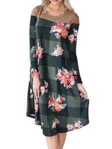 Round Neck Long Sleeve Plaid & Floral Print Casual Loose Midi Dress