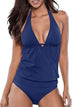Sexy Solid Color V Collar One Pieces Swimsuit Set