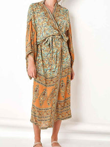 Floral Printed Long Cardigan Maxi Hippie Kimono Dress
