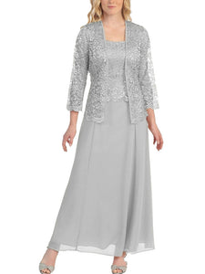 Two-piece Lace Cardigan Chiffon Maxi Dress