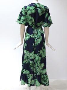 V Neck Short Sleeve Asymmetric Hem Leaf Print Ruffles Casual Maxi Dress