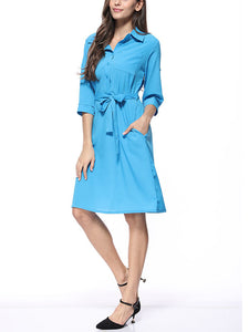 Solid Color Lapel Long Sleeve Button Belt Casual A Line Midi Dress