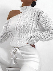 Women Off Shoulder Long Sleeve Solid Sweater