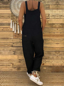 Casual Solid Pocket Loose Overalls Jumpsuit