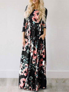 Round Neck Long Sleeve Tunic 3D Print Pleated A Line Maxi Dress
