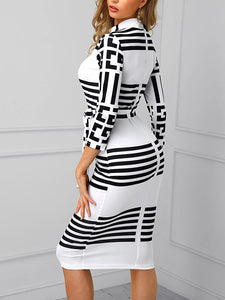 Long Sleeve Mock Neck Striped Colorblock Insert Bodycon Dress