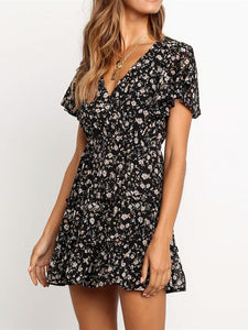 V Neck Short Sleeve Floral Print Ruffles Draped Splicing Casual Mini Dress