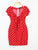 Deep V Neck Short Sleeve Polka Dot Bow Front Bodycon Mini Dress