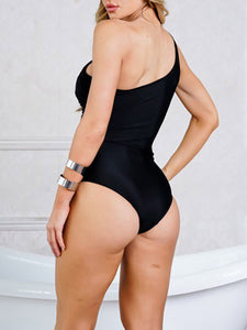 Black Sexy One-Shoulder Backless Hollowing Out One Pice Swimsuit - Hellosasa