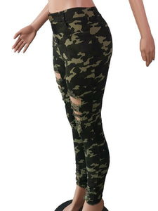 Camouflage Hole Pencil Pants High Waist Casual Pants