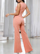 V-Neck Sleeveless Buckle Self-belt  Elegant Wide Leg Jumpsuit