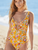 Yellow-Floral-Lace-Up-One-Piece-Swimsuit