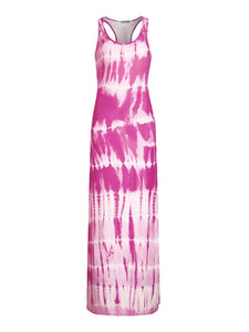 Plus Size U Neck Sleeveless Tie Dye Casual Loose Maxi Dress