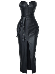 Women Leather High Split Black Tight Party Dress