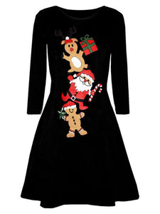 Round Neck Long Sleeve Christmas Printed Casual Dress