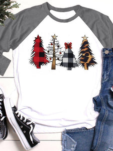 Christmas Tree Printed Long Sleeve Casual T-Shirt