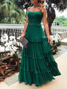 Elegant Spaghetti Straps Plain Green Falbala Evening Maxi Dress