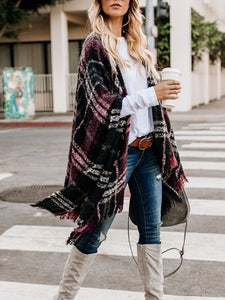 Women Fashion Grid Pattern Casual Cardigans