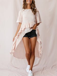 Round Neck High-Low Ruffle Trim Blouse