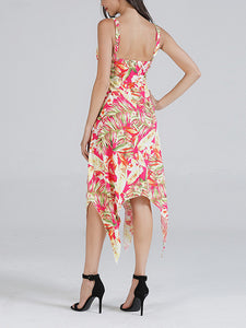 U Neck Sleeveless Low Back Asymmetric Hem Floral Print Casual Midi Dress