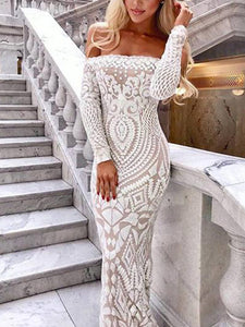 Sexy Off Shoulder Sequined Lace Fishtail Evening Dress