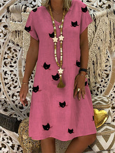 Plus Size V Neck Animal Print  Short Sleeve Casual Dress