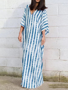 V Neck Striped Printed  Mid-Length Dress