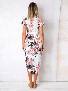 V Neck Short Sleeve Side Split Floral Print Belt Casual Loose Midi Dress