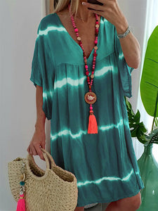 Plus Size V Neck Short Sleeve Stripe Loose Casual Dress