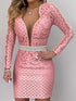 V Neck Long Sleeve  Lace  Pink Color Bodycon Dress