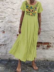 Round Neck Embroidery Short Sleeve Maxi Dress